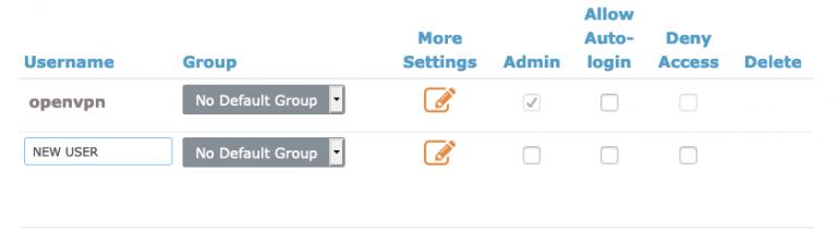configurações de usuário no openvpn