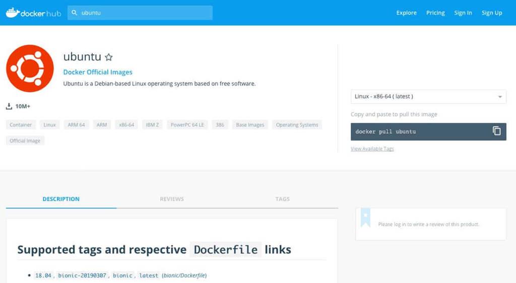 Site mostra informações sobre a imagem do Ubuntu disponível no Docker Hub