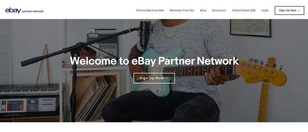 Página inicial do programa eBay Partner Network