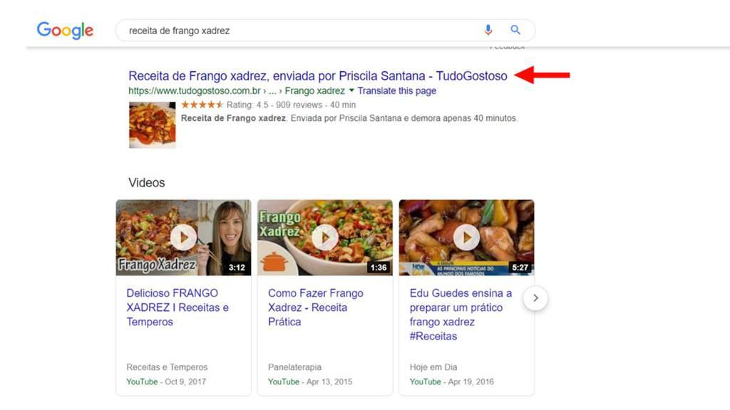 Exemplo de SERPs de avaliação numa pesquisa no Google sobre Frango Xadrez