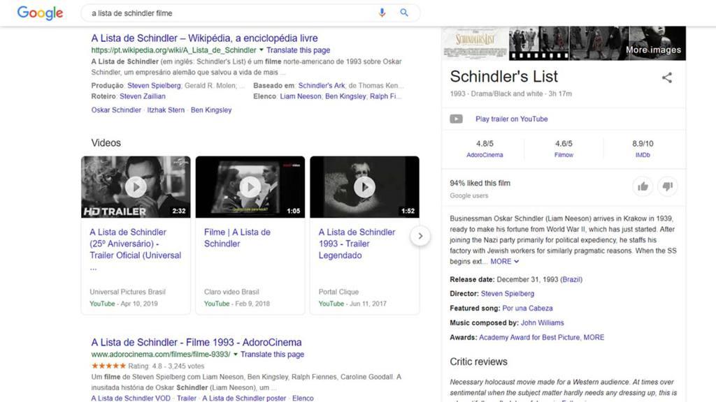 Exemplo do schema em ação na pesquisa pelo filme A Lista de Schindler