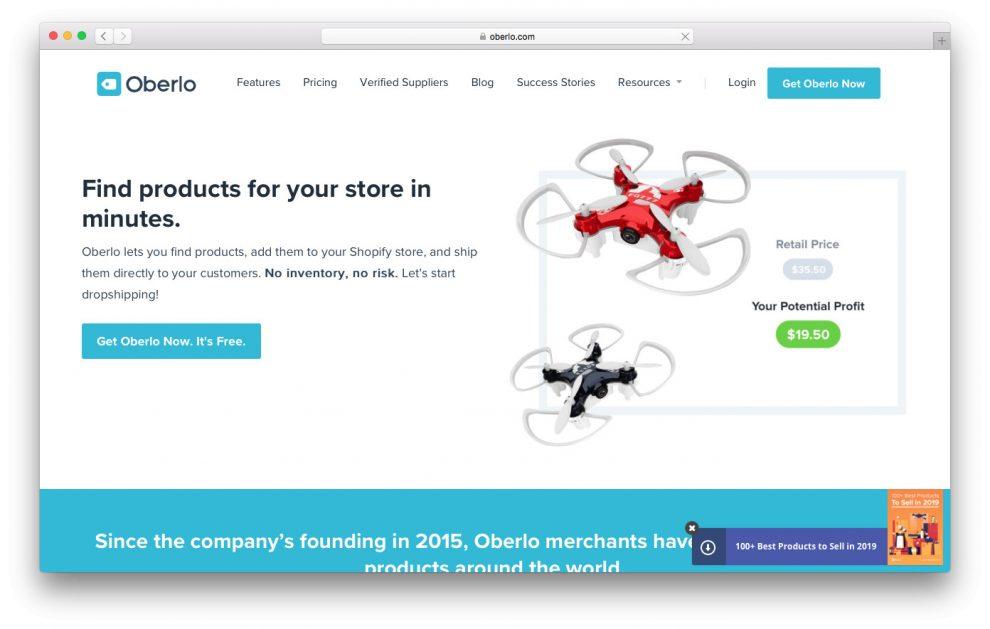 oberlo e um site de drop shipping