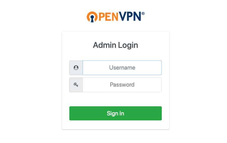 tela de login login open vpn