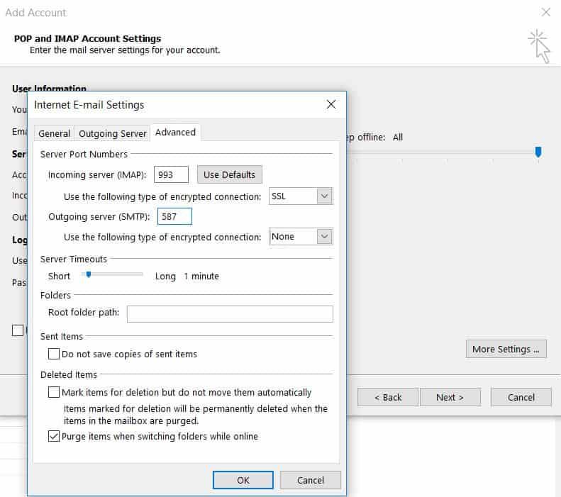 Aba avançado de configuração de email da internet no Outlook 2013