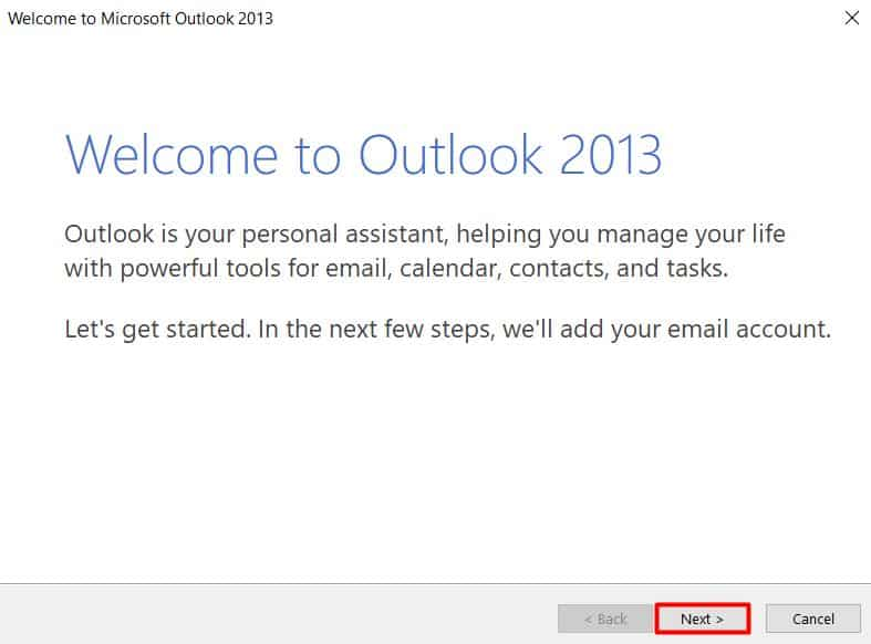 Tela de boas vindas do Outlook 2013
