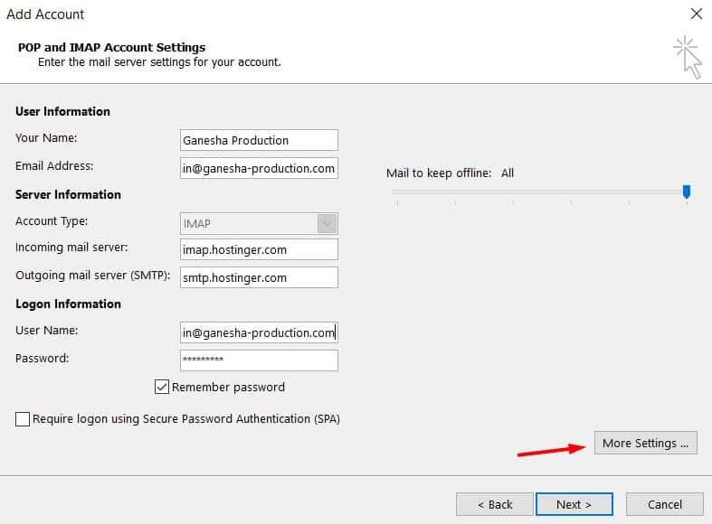 Indicação da seleção de mais configurações no Outlook 2013