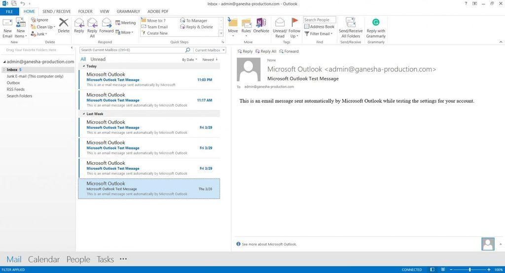 Tela inicial do Microsoft Outlook 2013