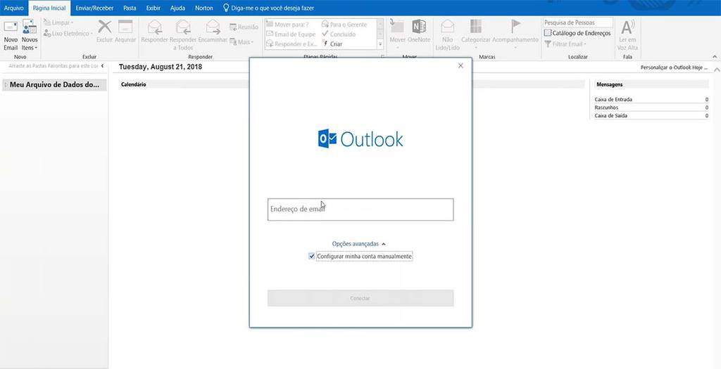 Tela de login do programa de email Microsoft Outlook 2019