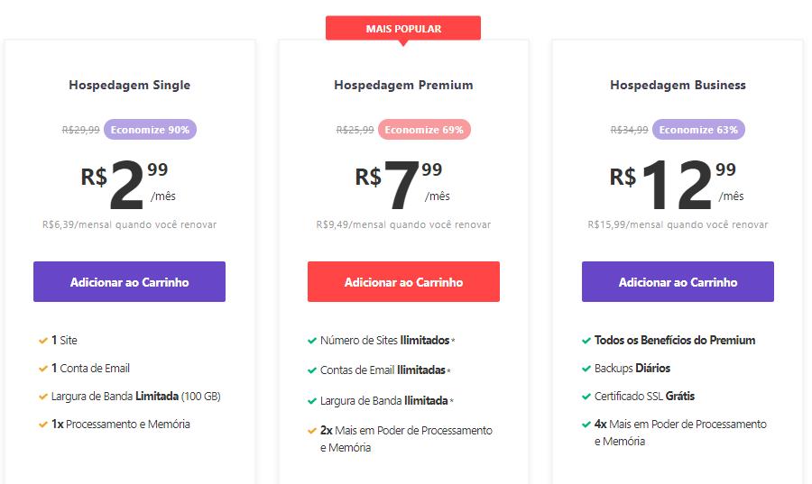 página com os preços da hospedagem compartilhada da Hostinger