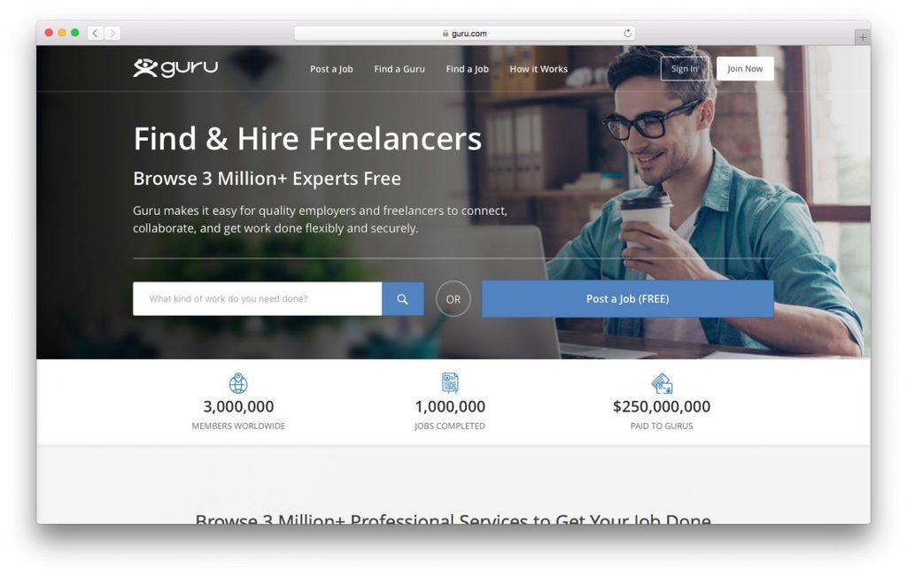 plataforma guru de trabalho freenlancer de desenvolvimento web