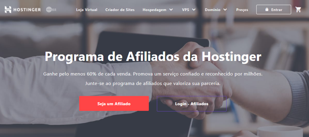 página de marketing de afiliados da hostinger