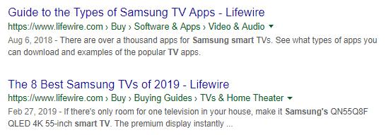 Schema Markup de breadcumb usando como base guia para TVs da Samsung