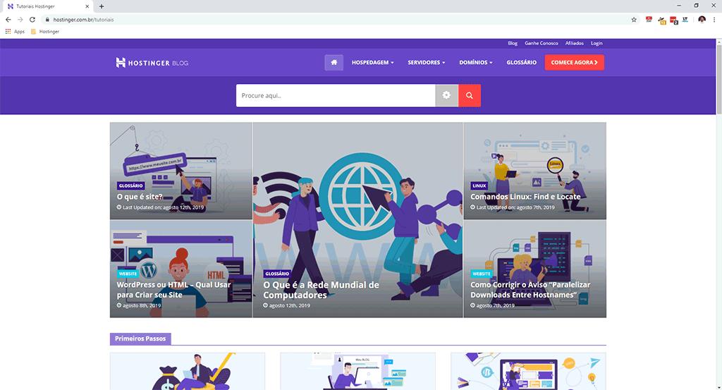 página inicial da área de tutoriais do site da hostinger