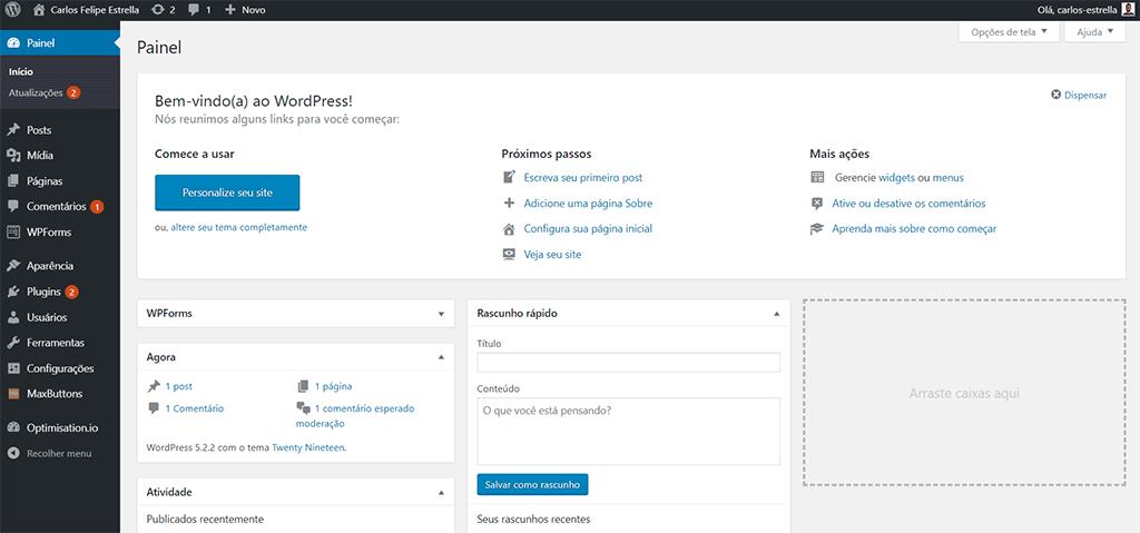 painel do sistema de gerenciamento de conteúdo wordpress