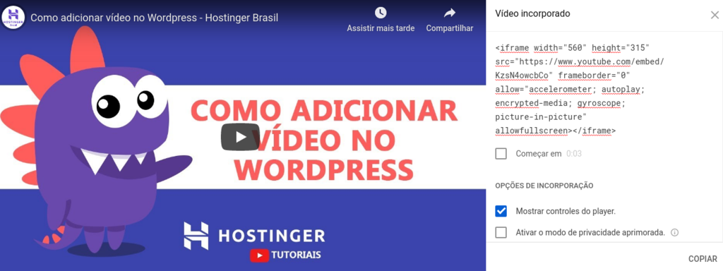 inserir iframe de vídeo do youtube no wordpress