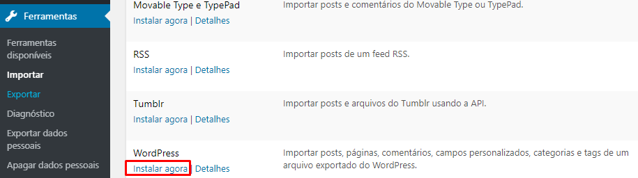menu importar para instalar wordpress