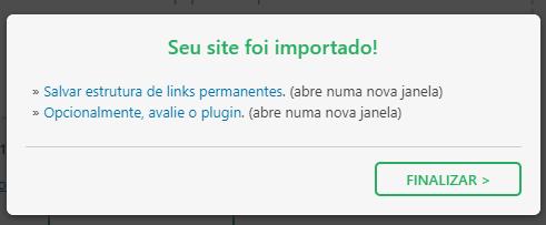 mensagem de confirmação de importação de site