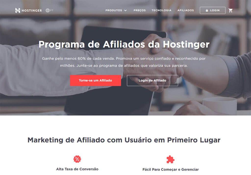 página inicial do programa de afiliados da hostinger para saber como ganhar dinheiro em casa