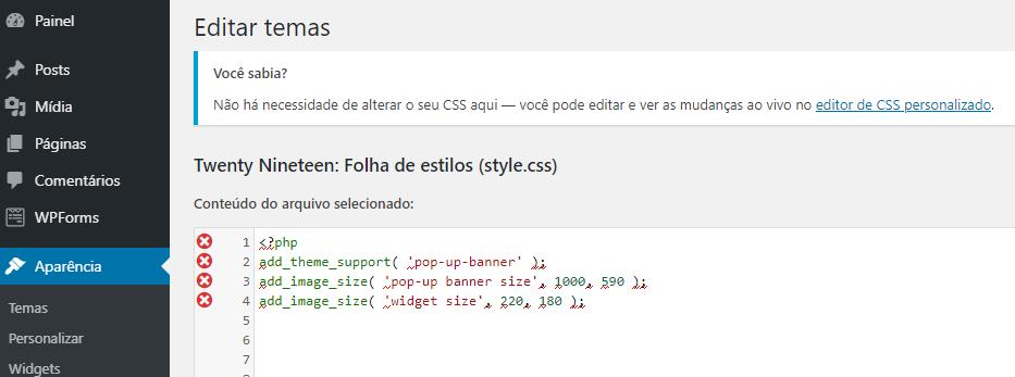 editando tema wordpress