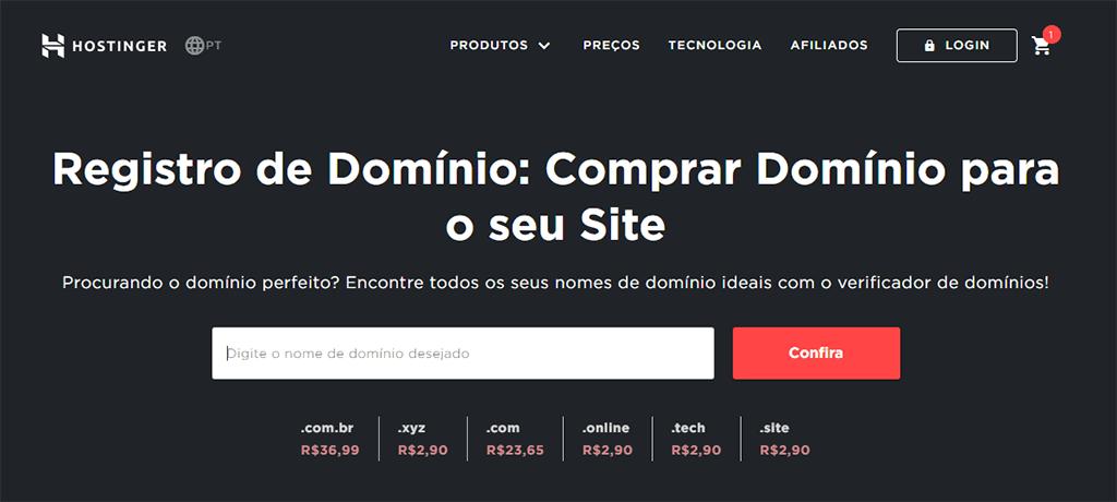 ferramenta de registro de dominio da hostinger