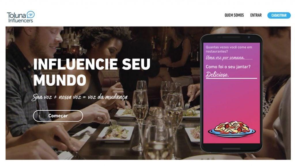 página inicial do site de pesquisas toluna influencers
