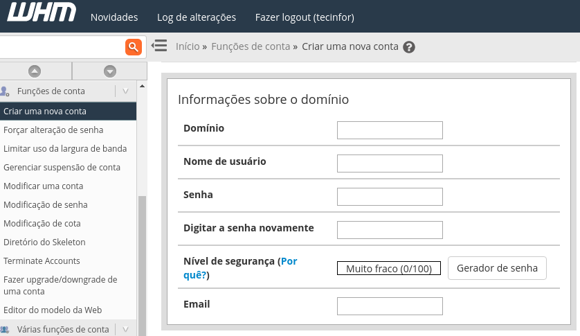 opção de criar nova conta de usuário no painel web host manager