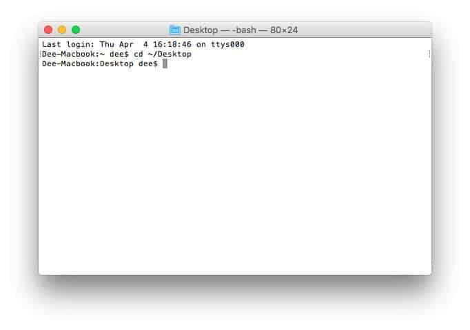 mudar de diretório no terminal usando CLI