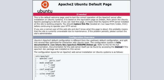 tela de confirmação do Apache que está sendo executado