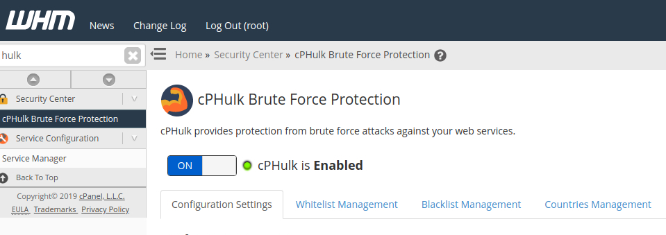 habilitar proteção cphulk no painel web host manager