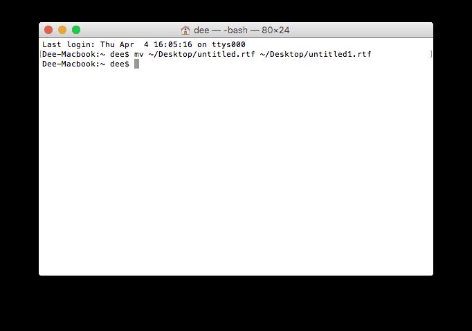 renomear arquivo usando terminal do MacOS