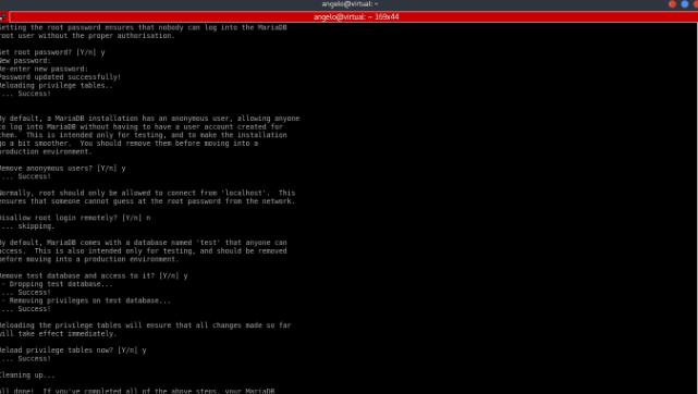 tela de confirmação de instalação de banco de dados mariaDB