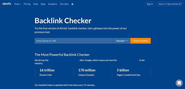 ferramenta de backlinks Ahrefs para detectar black hat