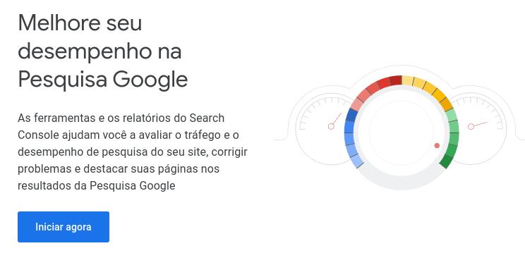 página inicial do Google Search Console