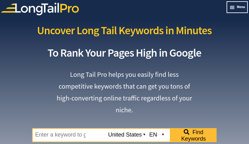 ferramenta de pesquisa de palavra-chave Long Tail Pro