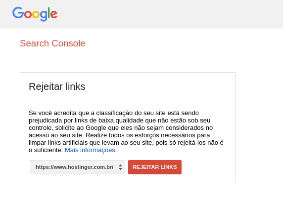 rejeitar links pelo Google Search Console