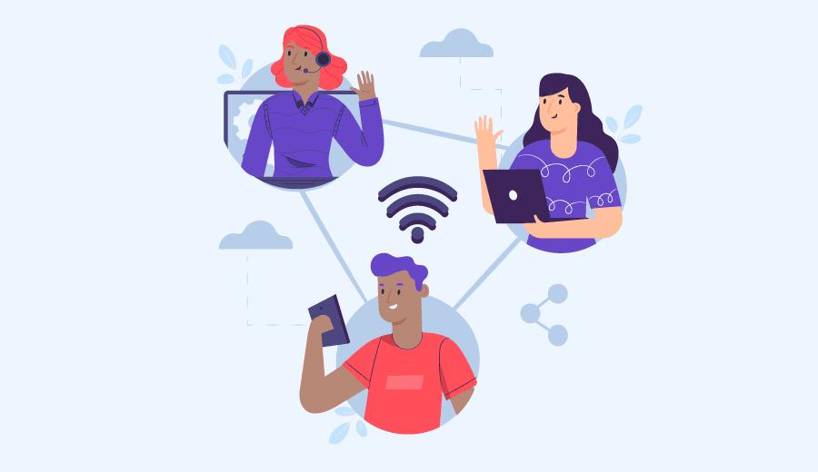 pessoas conectadas na internet e conversando umas com as outras