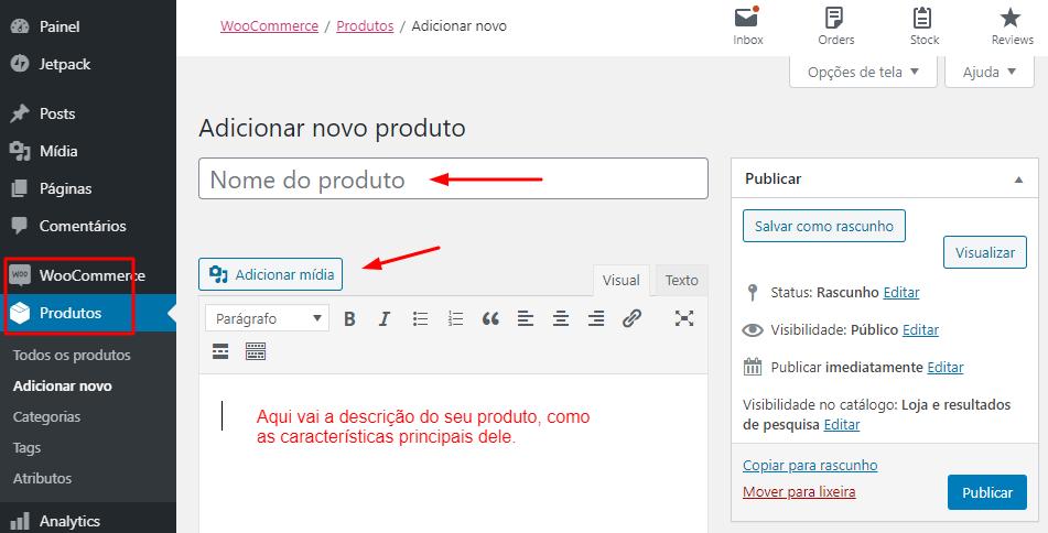 adicionar novo produto pelo plugin WooCommerce no WordPress