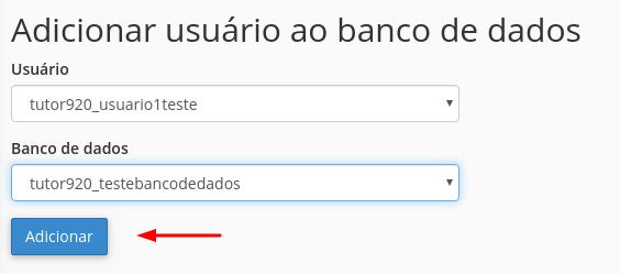 processo de adicionar usuário criado ao banco de dados mysql