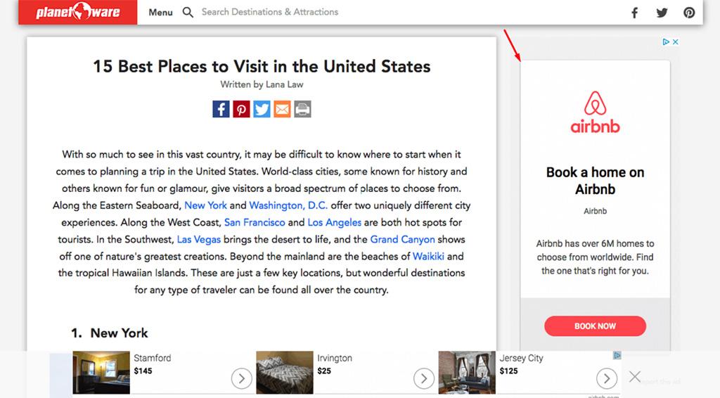 exemplo de propaganda de retargeting do airbnb