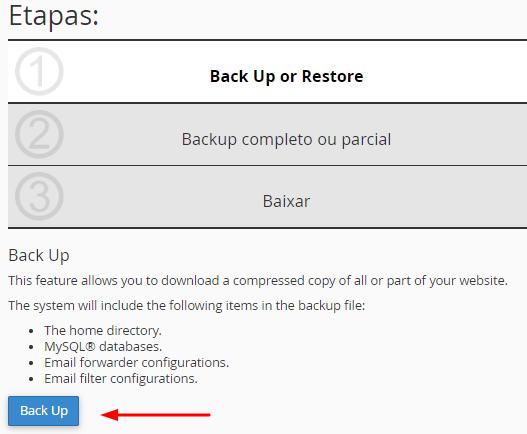localizar backups no assistente de backups