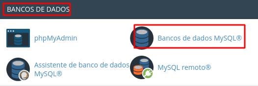 localizar banco de dados mysql na seção banco de dados do cpanel