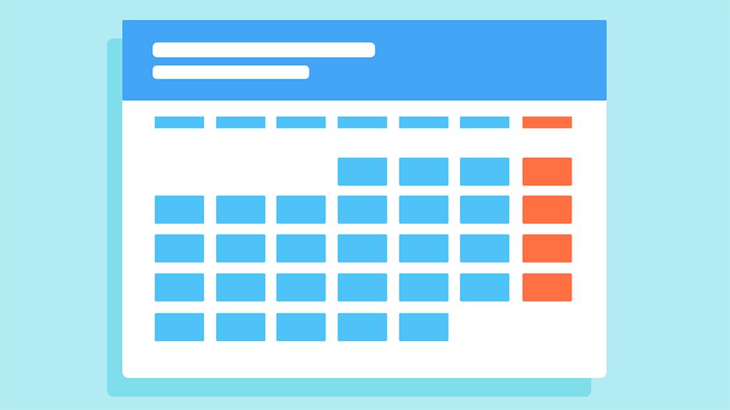 calendário sem as datas e sem números sobre um fundo verde