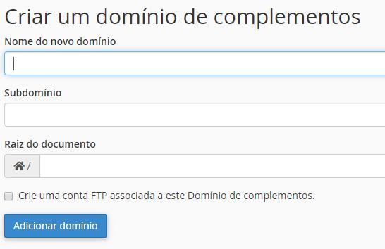 configuração de domínio de complemento