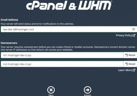 configurar nameserves no whm
