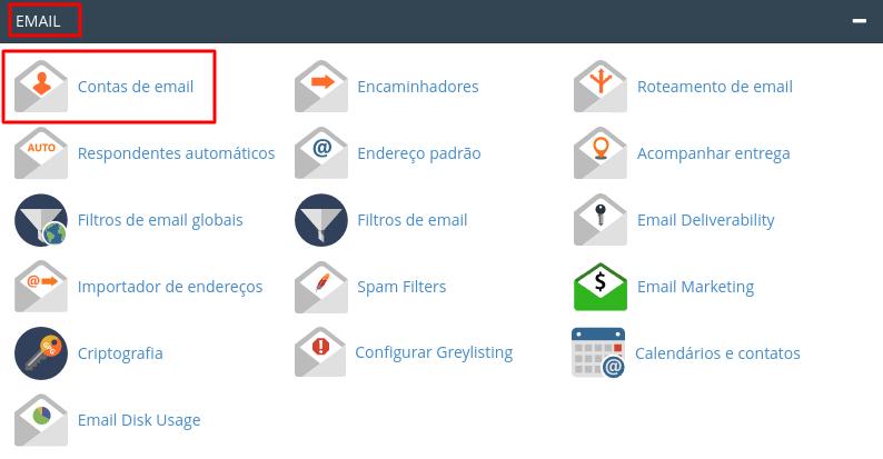localizr contas de email no painel cpanel