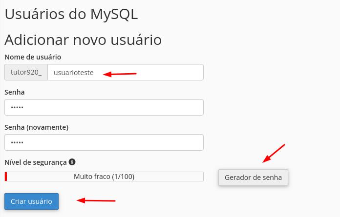 criar novo usuário para banco de dados mysql