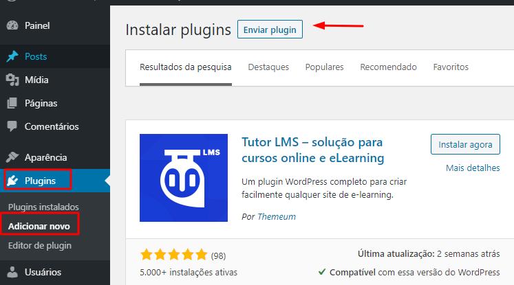 fazer upload do plugin Tutor LMS no WordPress