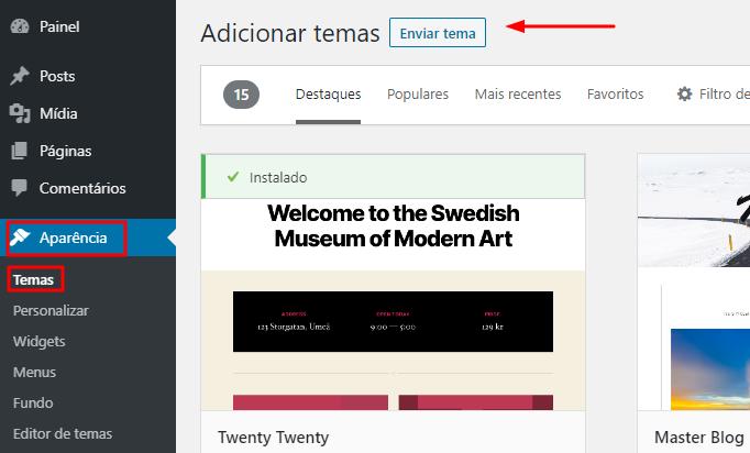 fazer upload de tema para o WordPress