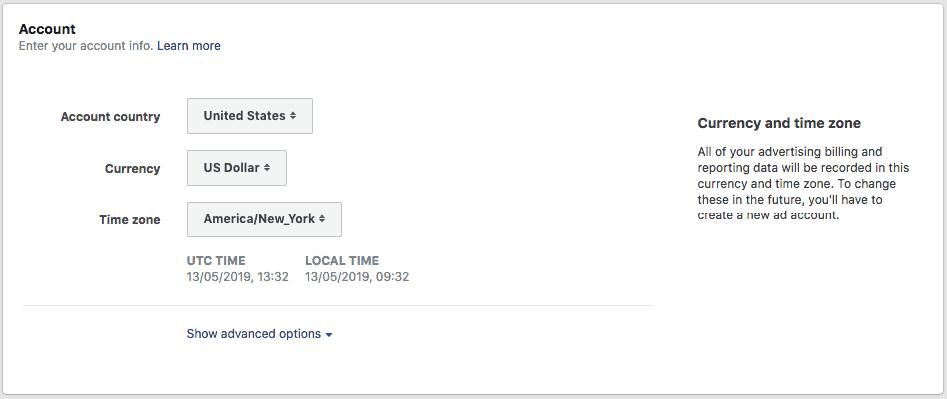 tela para seleção de páis, moeda e fuso horário que serão utilizados pela campanha