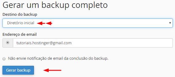gerar backup completo de site
